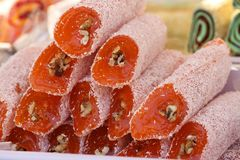 Turkish delight. Lokum. Sweet candies with nuts. turkish delight for dessert. Cezerye or lokum. Turkish candies and sweets, tasty Stock Photos