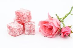 Turkish delight lokum. On a white background Royalty Free Stock Photos