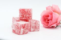 Turkish delight lokum. On a white background Stock Photography