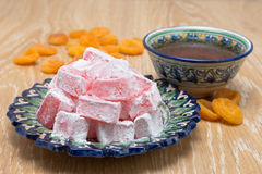 Turkish Delight or lukum and tee Stock Photo