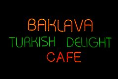 Turkish delight neon cafe Stock Photo