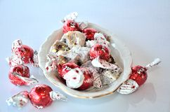 Turkish delight and chocolate candies Stock Images