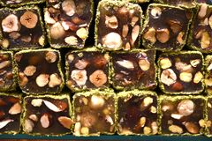 Turkish delight with nuts. In store stock photography