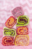 Turkish delight. On a pink background stock photo