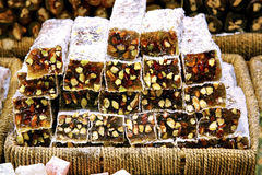Turkish Delight with pistachio. Sugar coated Turkish Delight bars (soft candy) with pistachio nut stock images