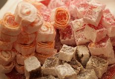 Turkish delight with pistachio nuts Royalty Free Stock Photo
