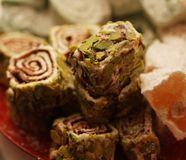 Turkish delight with pistachio nuts Stock Photography