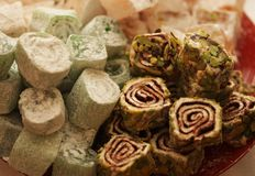 Turkish delight with pistachio nuts Royalty Free Stock Image