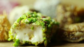 Turkish delight with pistachio rotating shot. Turkish delight with pistachio rotating stock video
