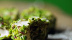 Turkish delight with pistachio rotating shot. Turkish delight with pistachio rotating stock footage