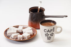 Turkish delight on a plate and a cup of brewed coffee Stock Photography