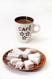 Turkish delight on a plate and a cup of brewed coffee Stock Photo
