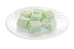 Turkish delight on a plate isolated Royalty Free Stock Photos