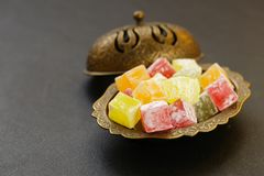 Turkish delight rahat loachum. Colorful sweet Turkish delight in the traditional dishes Royalty Free Stock Photography