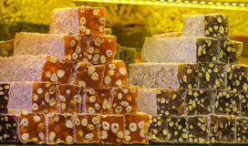 Turkish delight rahat lokum. Colorful sweets sold at the grand bazar market in Istanbul stock photography