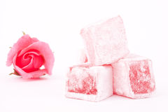 Turkish delight with rose flavour Stock Photos
