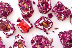 Turkish delight with rose, lokum. Turkish delight with rose petals, lokum stock photos