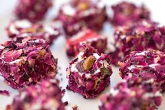 Turkish delight with rose, lokum. Turkish delight with rose petals, lokum stock images