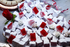 Turkish delight with roses flavour Stock Photo