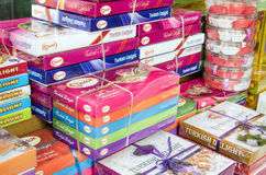 Turkish Delight for sale. ANTALYA, TURKEY  AUGUST 18, 2014:  Boxes of traditional Turkish Delight sweets piled up for sale at a shop in Antalya, Turkey Stock Image