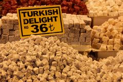 Turkish Delight. For sale at the Egyptian market in Istanbul, Turkey royalty free stock image
