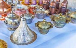 Turkish metal sugar bowls, Antalya market Royalty Free Stock Photography