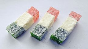 Turkish delight. Some sweets covered with coconut flakes royalty free stock photos