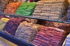 Turkish delight in a store market. Various Turkish delight in a store market, closeup stock photos