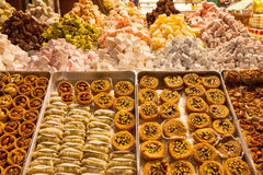 Turkish delight sweets at the Spice Market in Stock Images
