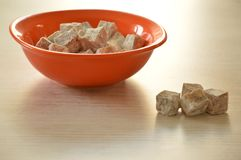 Turkish delight on the table. Turkish delight in orange bowl on the table stock photo