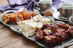 Turkish delight with tea Stock Photography