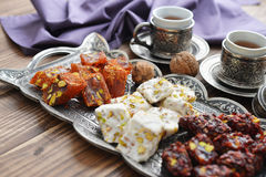 Turkish delight with tea royalty free stock photo