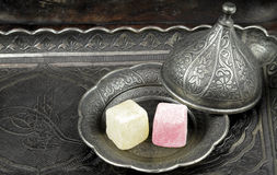Turkish delight in traditional Ottoman style carved patterned metal plate Royalty Free Stock Photography