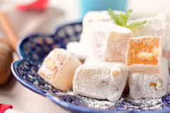 Turkish delight. Traditional turkish delight wit walnuts,selective focus royalty free stock photo