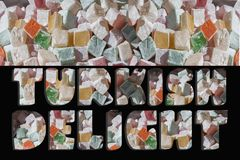 Turkish delight of various color and Turkish delight text. Turkish delight text in Turkish delight of various colors stock illustration
