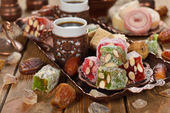 Turkish Delight and various oriental sweets Stock Photos