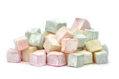 Turkish delight. On white background royalty free stock images