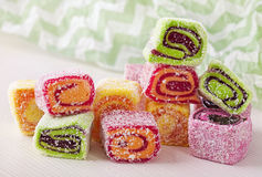 Turkish delight. On a white background royalty free stock photo