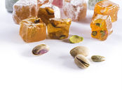 Turkish Delight on white background Stock Image
