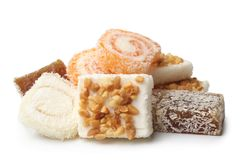 Turkish delight. On white background royalty free stock photography