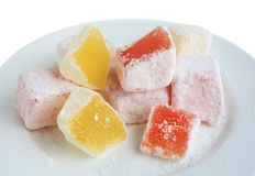 Turkish delight on a white plate Stock Photography