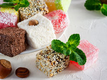 Turkish delight on white rustic background Royalty Free Stock Images