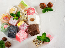 Turkish delight on white rustic background Royalty Free Stock Photography