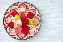 Turkish delights on blue background Royalty Free Stock Photos