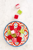 Turkish delights on marble background Royalty Free Stock Photos