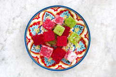 Turkish delights on marble background Stock Photo