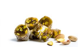 Turkish delights with pistachio isolated royalty free stock photos