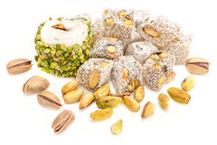 Turkish Delights With Pistachio Isolated On White Stock Photo