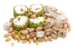 Turkish Delights With Pistachio Isolated On White Royalty Free Stock Photo