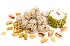 Turkish Delights With Pistachio  On White Stock Photography